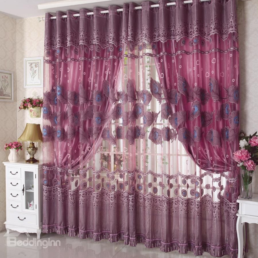 Romantic Flying Purple Peacock Grommet Top Custom Curtain And