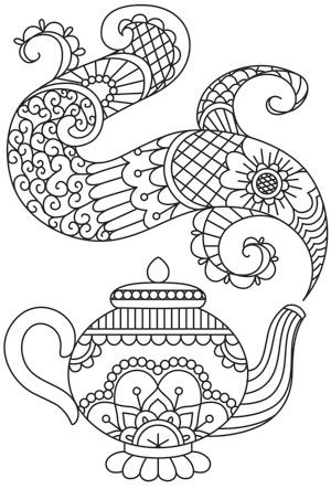 Intricate Patterns Fill The Swirling Steam From This Enchanting Teapot Downloads As A PDF Use Pattern Transfer Paper To Trace Design For Hand Stitching
