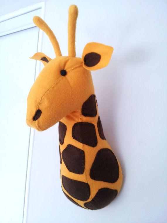 Giraffe faux taxidermy felt wall mounted animal head giuseppe giraffe safari wall decor - Cabezas animales tela ...