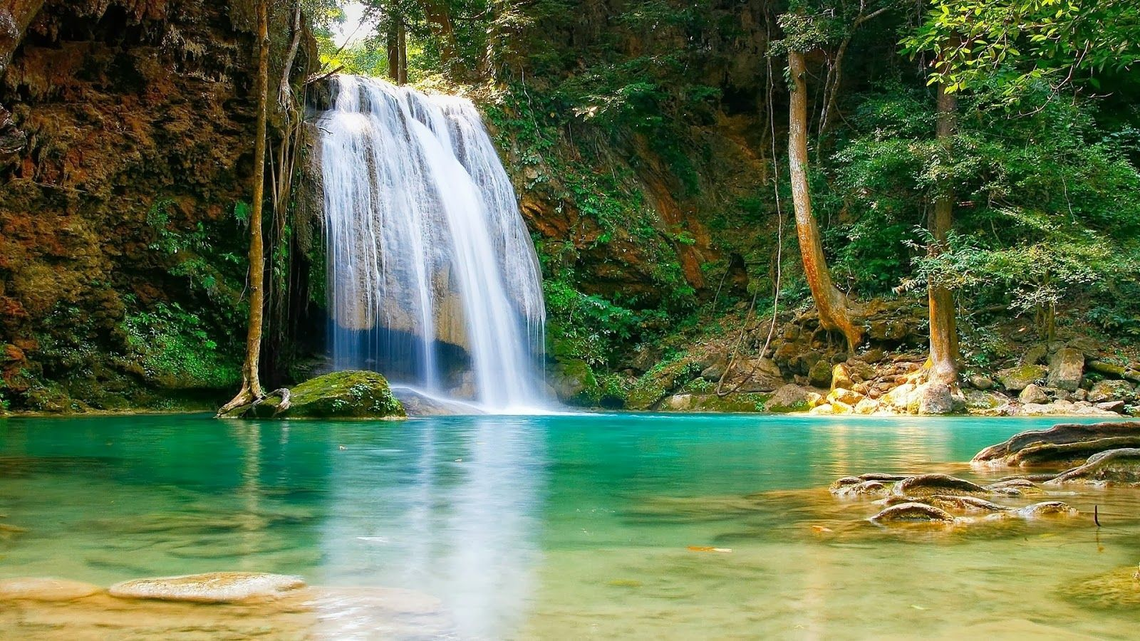 Waterfall Wallpaper Scenery Forest Free Desktop