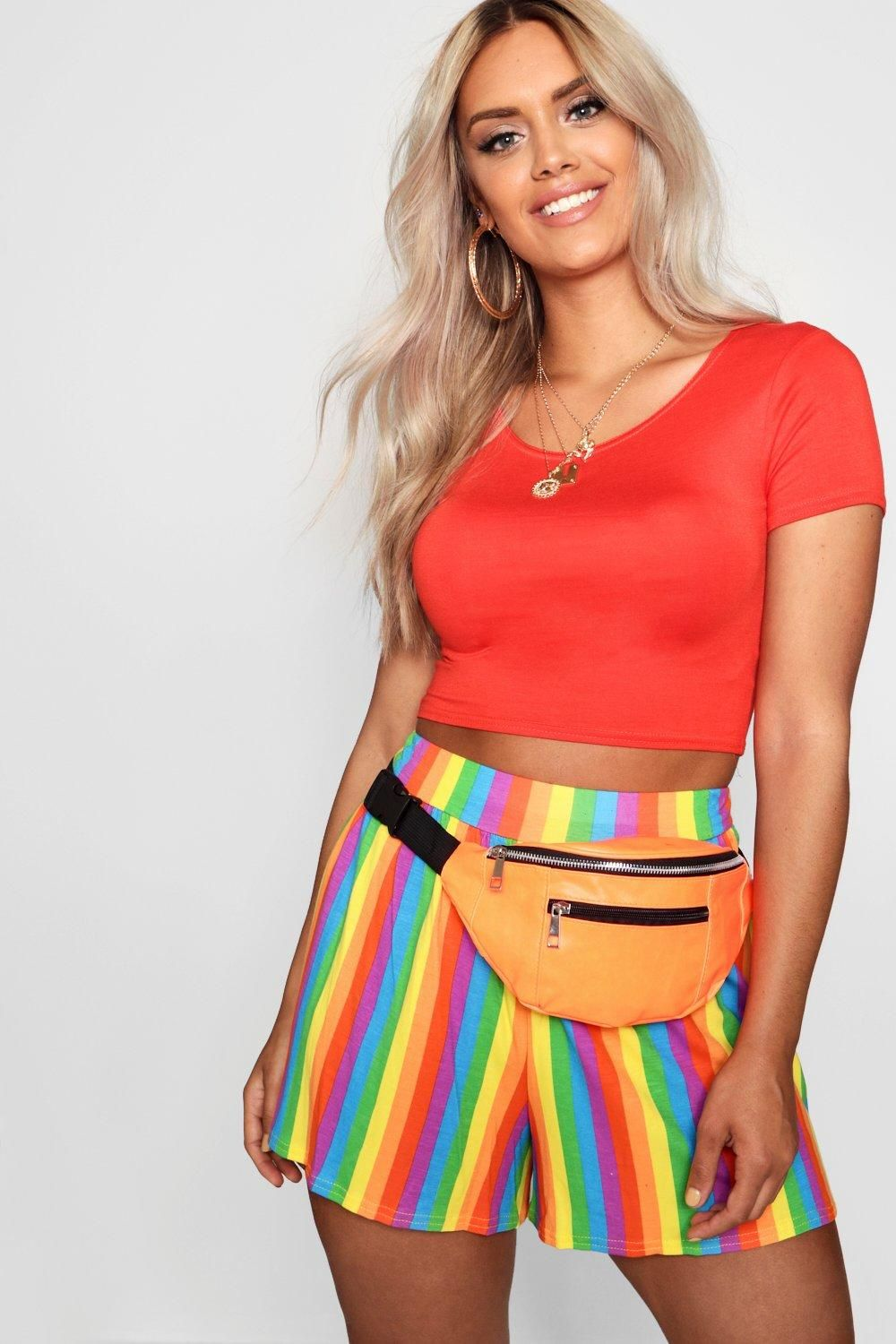 646b842668c Click here to find out about the Plus Rainbow Flippy Hem Short from Boohoo