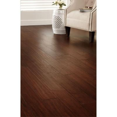 Home Decorators Collection Handscraped Strand Woven Dark Carmel 1 2 In X 5 1 8 In Wide X 72 7 8 In Length Solid Bamb Bamboo Flooring Flooring House Flooring