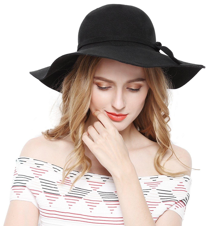 645bb0c1a36 Women 100% Wool Wide Brim Cloche Fedora Floppy hat Cap - Black ...