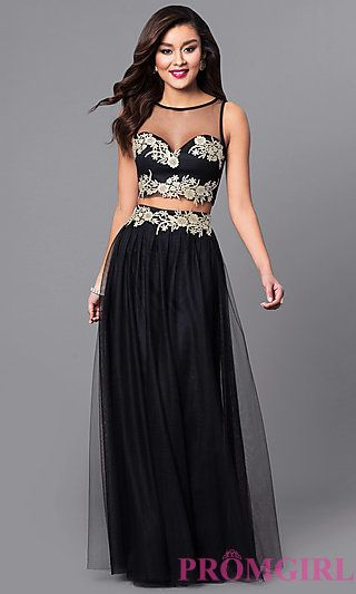 60e962fc2e3 Two-Piece Prom Dress with Illusion Sweetheart Top
