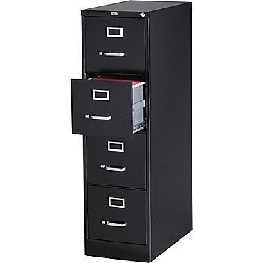 Staples 4 File Drawers Vertical File Cabinet Locking Black Letter 26 5 D 13444d Filing Cabinet Drawer Filing Cabinet Drawers
