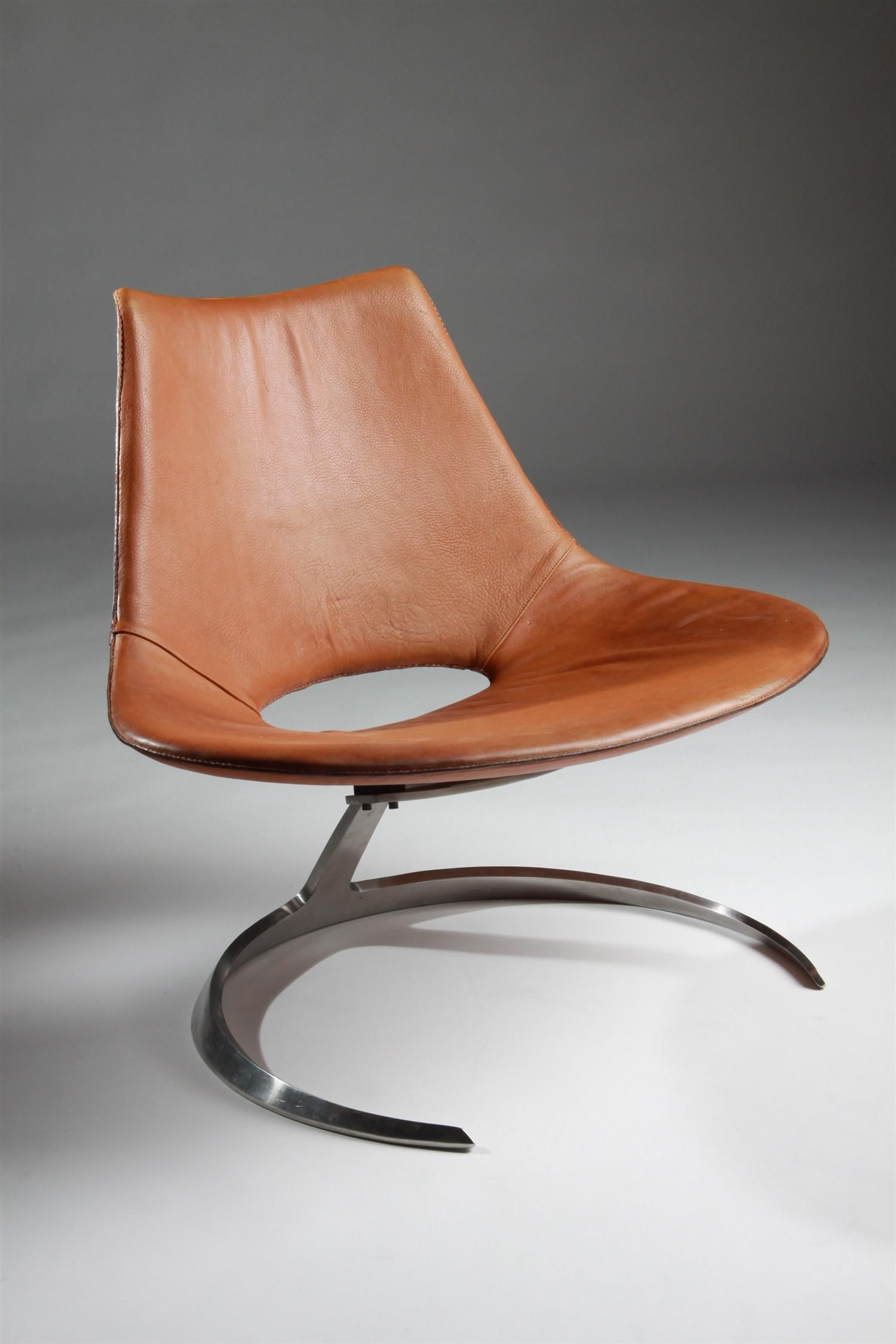 Jörgen Kastholm and Preben Fabricius; Leather and Chromed Steel 'Scimitar' Chair for Ivan Schlecter, 1963.