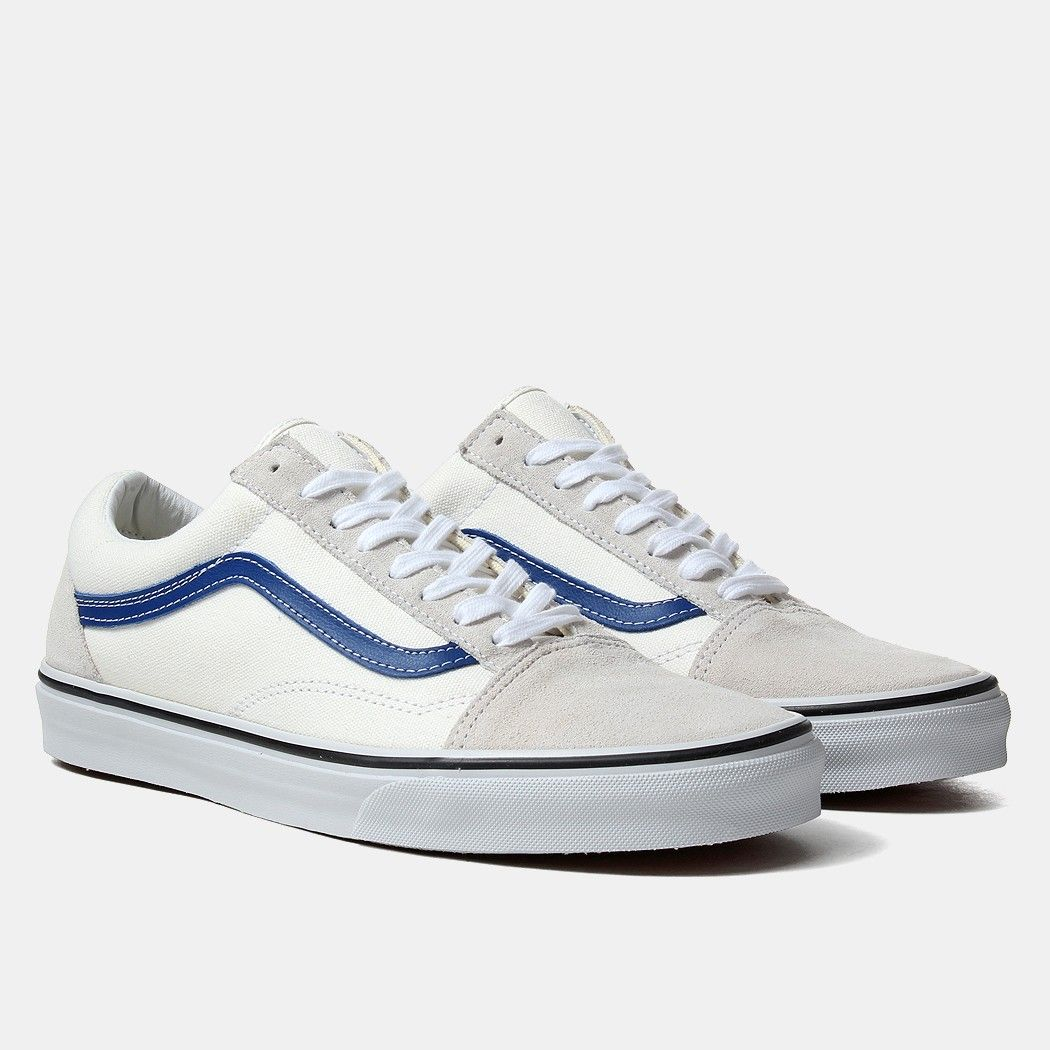 old skool vans blue and white