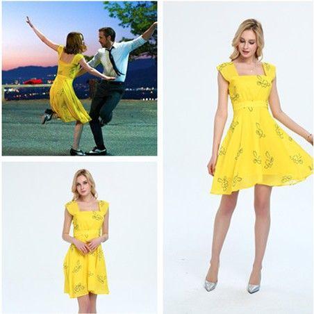 Miya Dress La La Land Emma Stone Yellow Dress Costumes Cosplay Dress Skirt 265e7590f0da