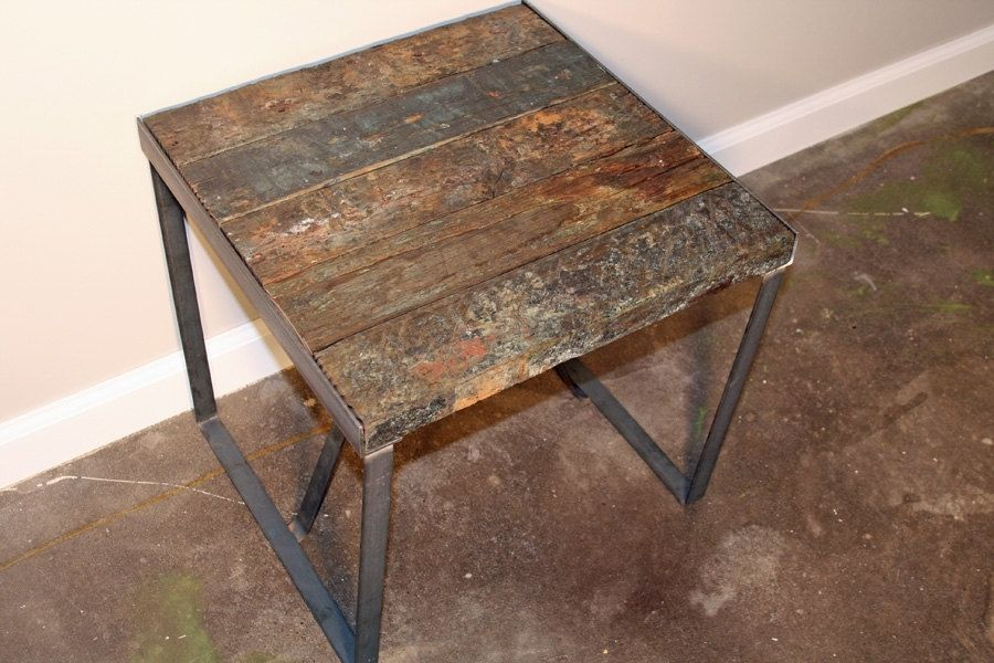 Industrial Wood And Metal Nightstand: Reclaimed End Table Or Nightstand. Wood From Vintage Barge
