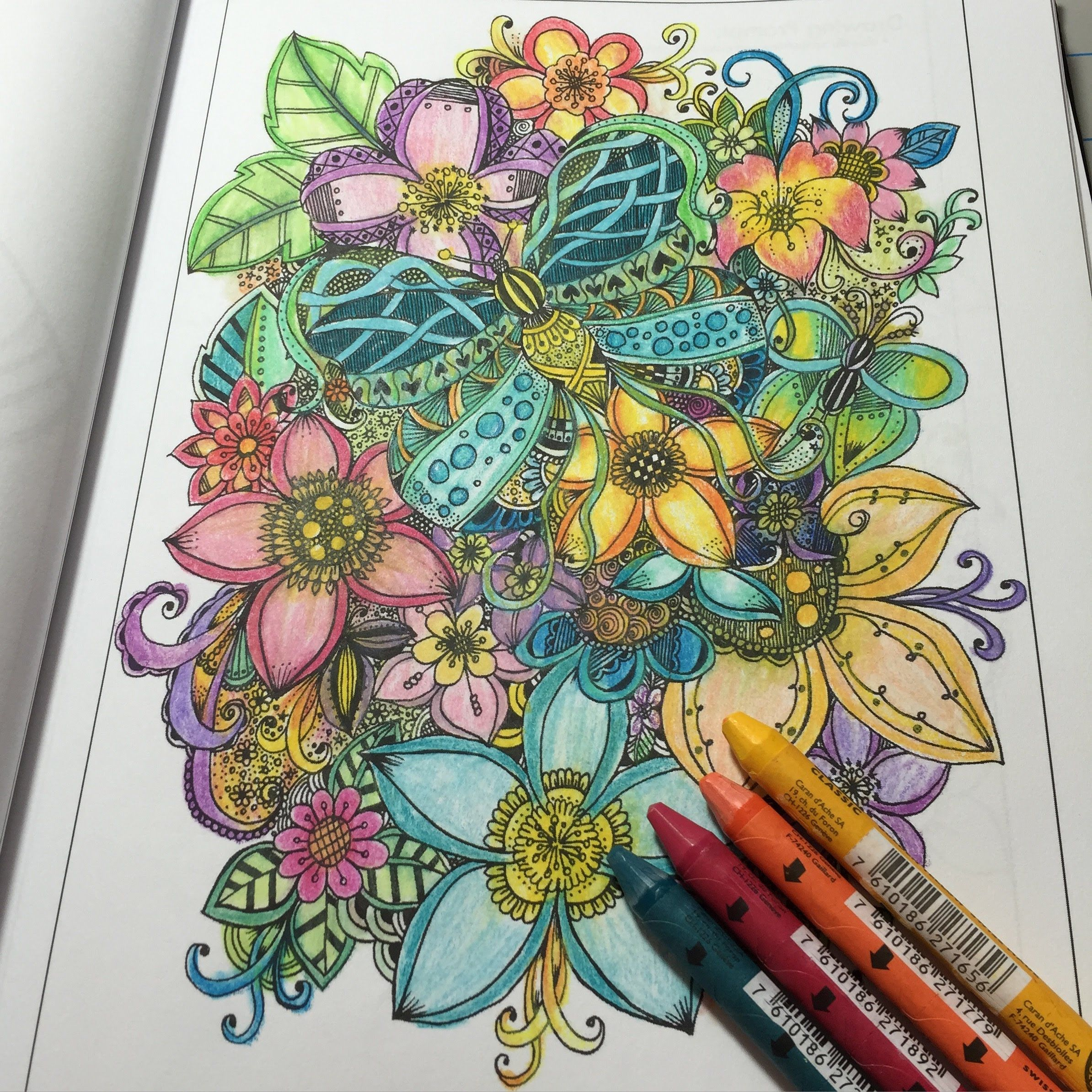 coloring in my coloring book: color supplies used are listed in