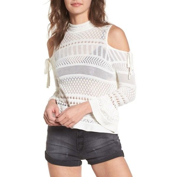 05d7a2ee375 Women's Lira Clothing Annabel Cold Shoulder Pointelle Sweater (9.344 KWD) ❤  liked on Polyvore