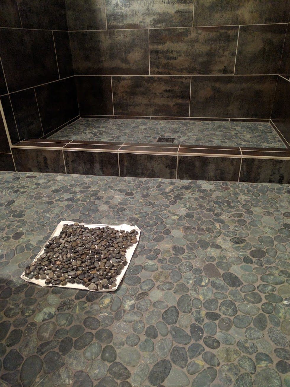 Room 3 wall tile alchemy silver by emser floor tile island floor tile island stone sliced pebble in medan charcoal tiles from venice tile marble installation by top notch tile grout is tec charcoal dailygadgetfo Choice Image