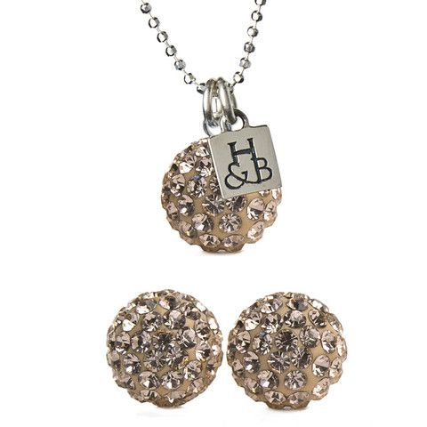 Rose Gold Sparkle Ball Earring & Necklace Set – Hillberg & Berk