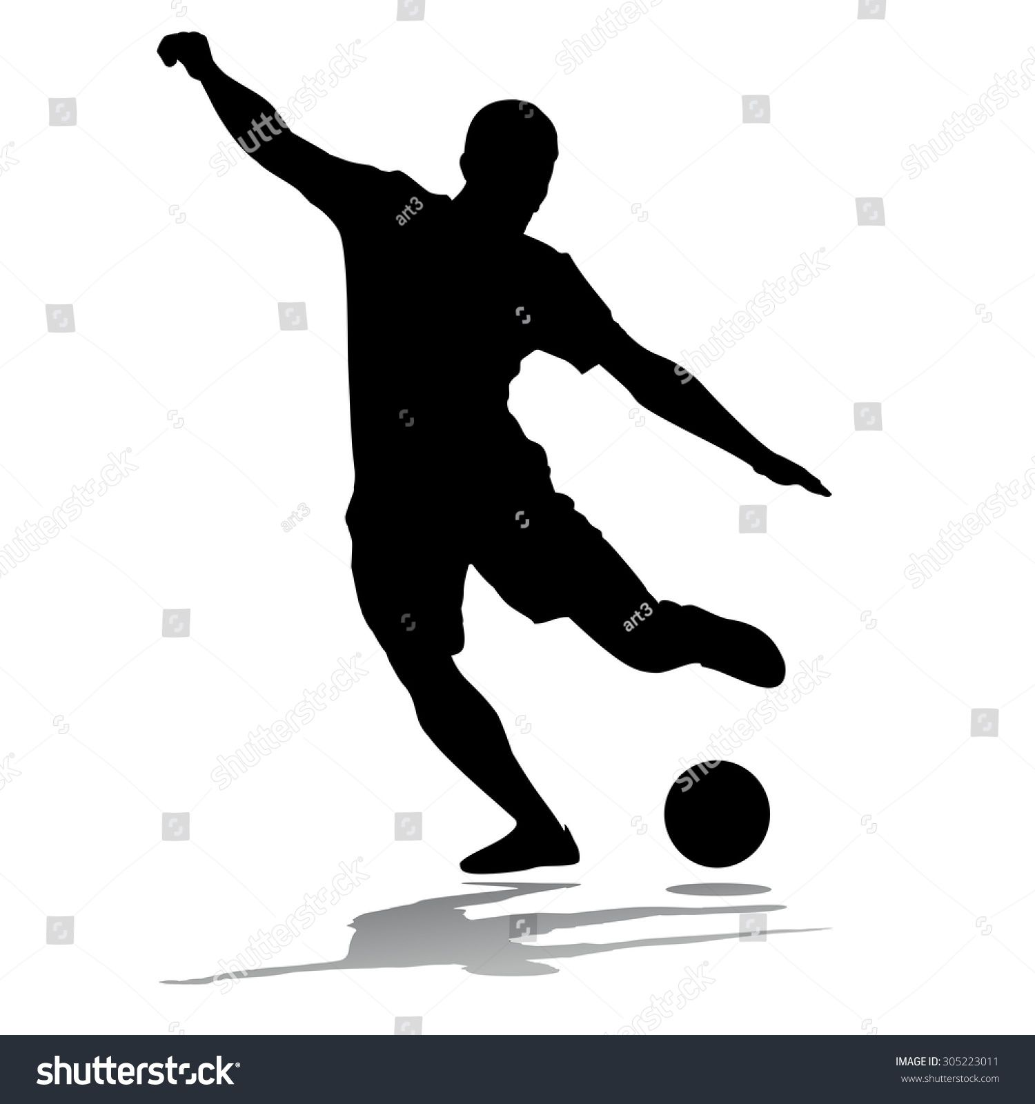 Vector Soccer Player Silhouette Player Shooting White Background Soccer Players Soccer Royalty Free Stock Photos