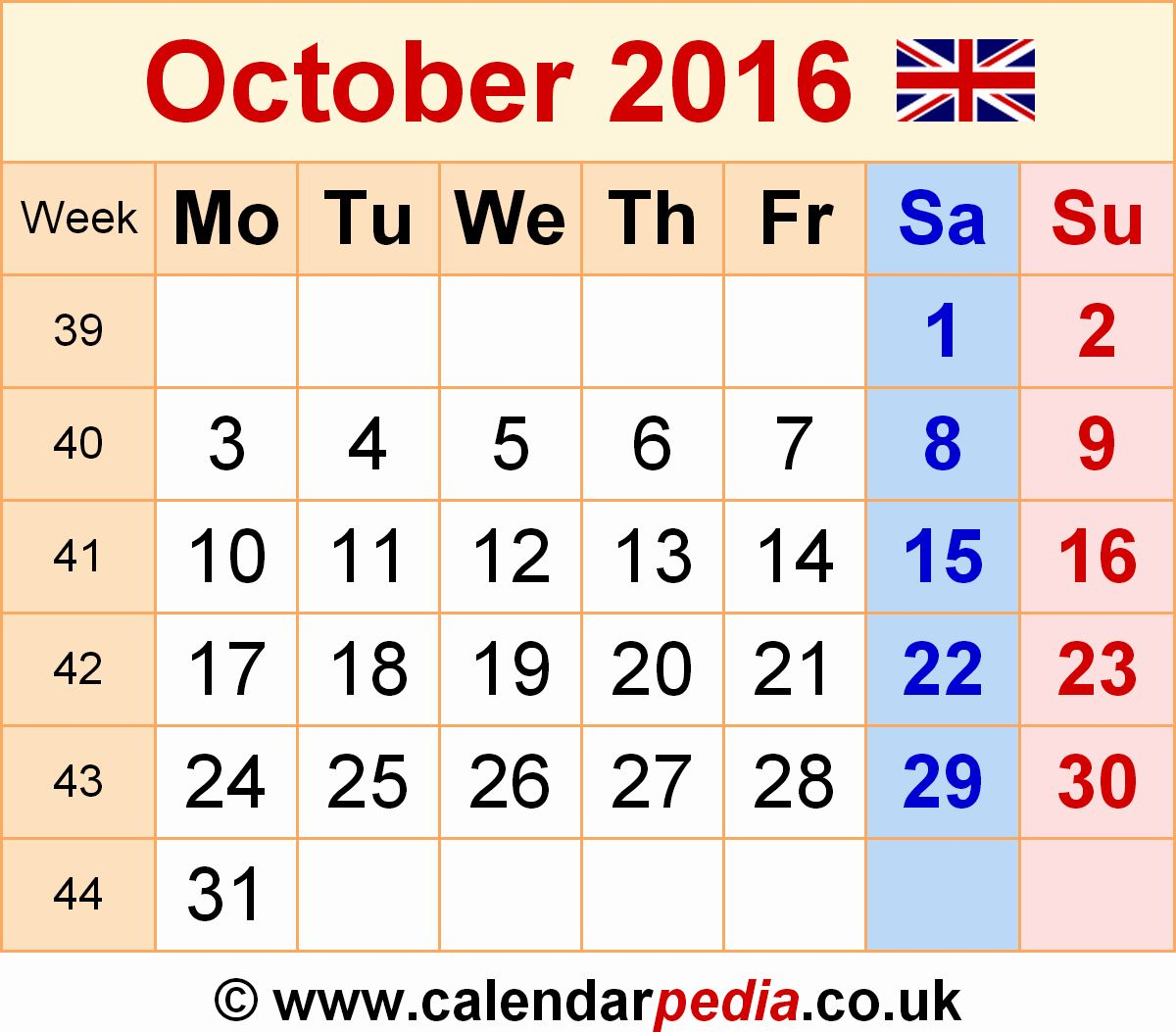 25 October Calendar Template 2016 in 2020 October
