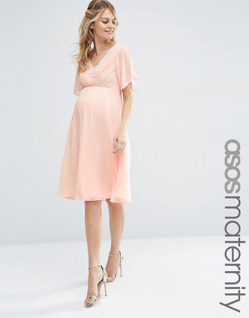Asos Maternity Asos Maternity Wedding Lace And Pleat Midi Dress Asos Maternity Dresses Maternity Wedding Outfits Maternity Clothes