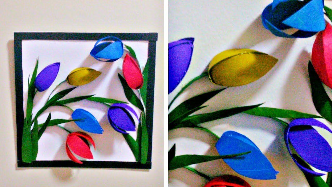 From tissue paper roll to  wall decor easy diy flower art also rh pinterest