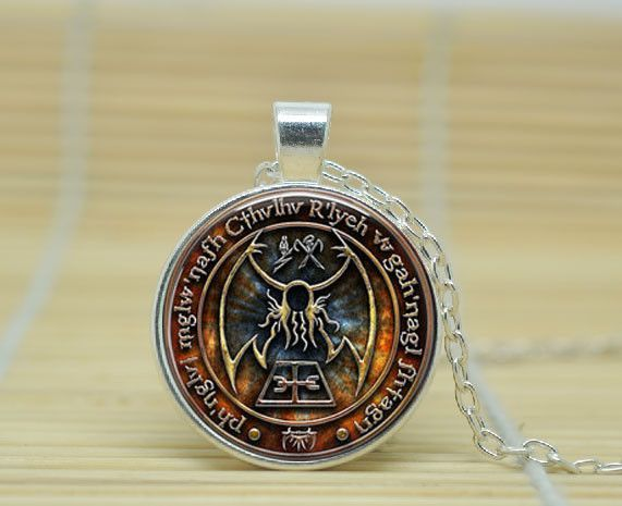 Cthulhu R'lyeh Sigil H.P. Lovecraft pendant jewelry Glass Cabochon Necklace