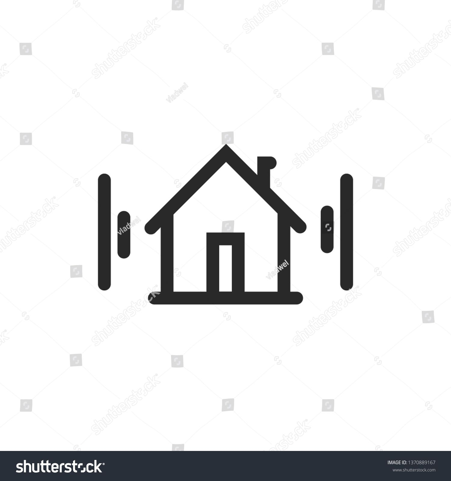 Home icon vector symbol, line outline art house pictogram