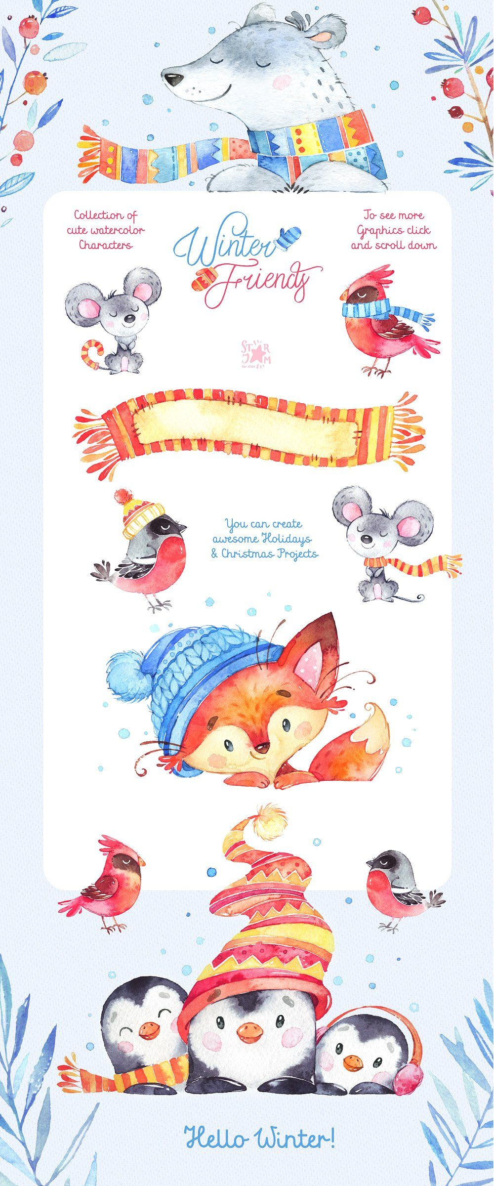 Winter Friends. Holiday collection by StarJam on