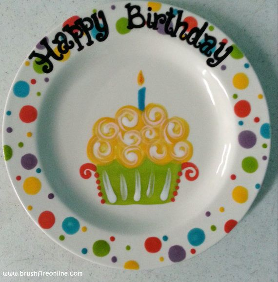 Hand Painted Ceramic Happy Birthday Plate 9 by BrushfireStudio $16.00 & Ready to Ship - 9