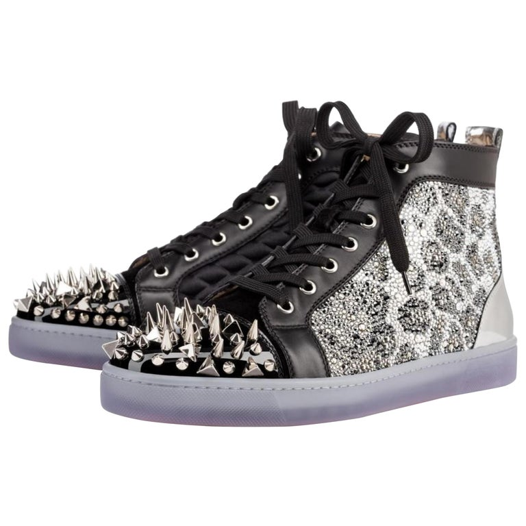 0394dd5f713 Christian Louboutin Black X Silver Strass No Limit Spike Toe High ...