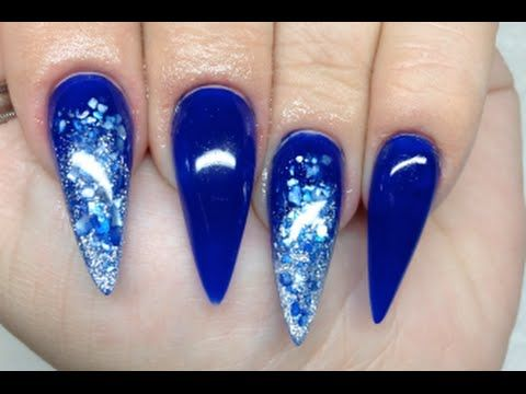 how to blue crushed shell acrylic nails  youtube  blue