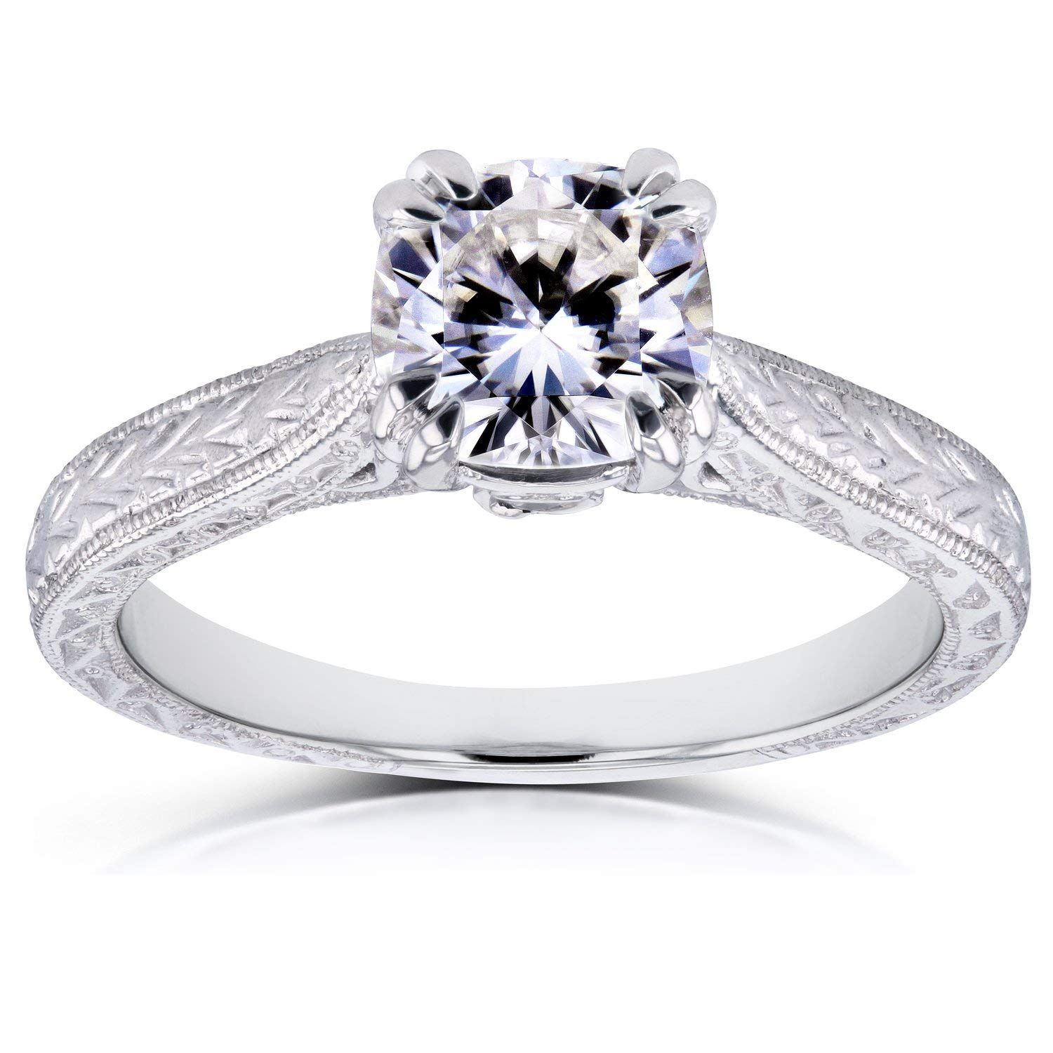 NearColorless (FG) Cushion Moissanite Accent Antique