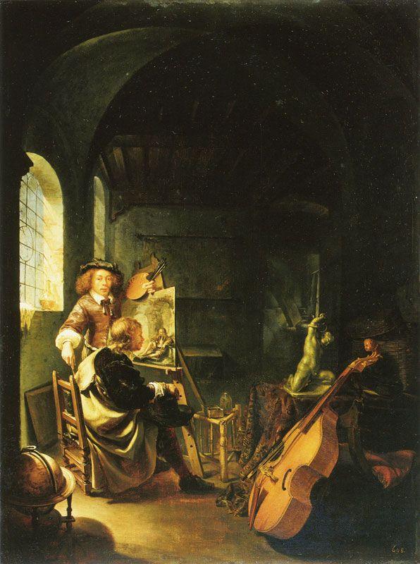 Frans van Mieris the Elder Self-Portrait of the Painter in his Studio