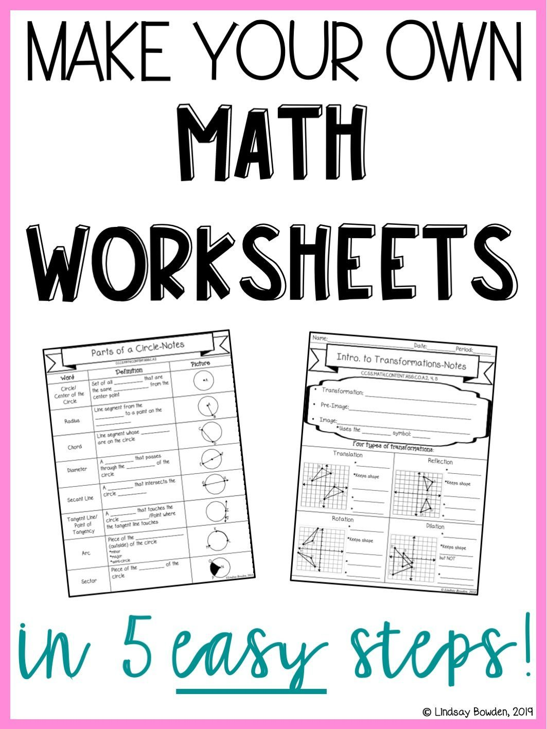 Learn How To Make Your Own Math Worksheets Notes