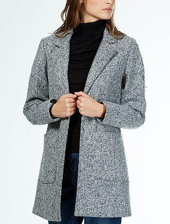 Manteau droit en lainage 'Jacqueline de Yong' gris chiné Femme - Kiabi bff5c77e3fc8