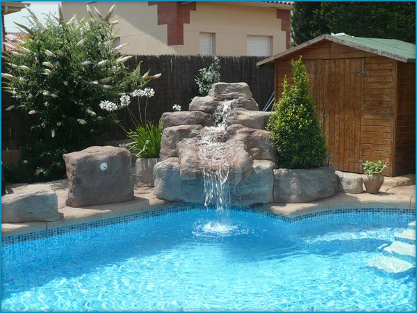 Cascada para piscina dise os de hogar pinterest for Disenos de fuentes y cascadas