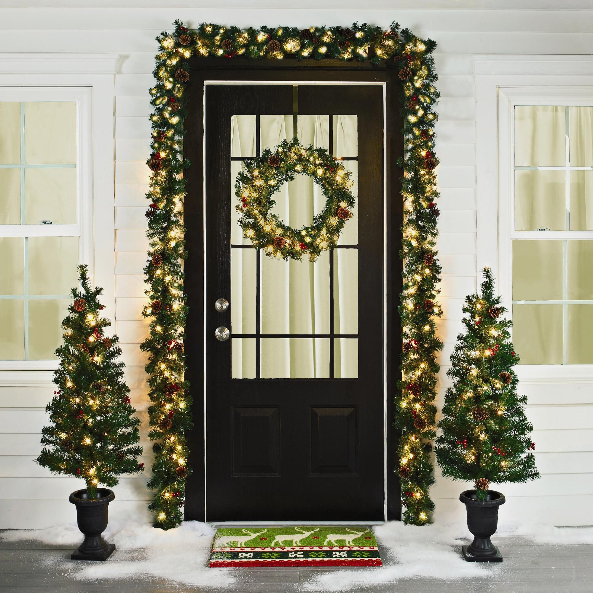 Pre Lit Entryway Christmas Scene 6 Piece Christmas Tree Shop Lighted Wreaths Holiday Decor