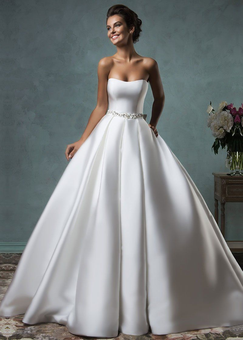 Photo of Wedding Dresses Ball Gown, Fabulous Satin Strapless Neckline A-line Wedding Dresses with Bowknot DressilyMe