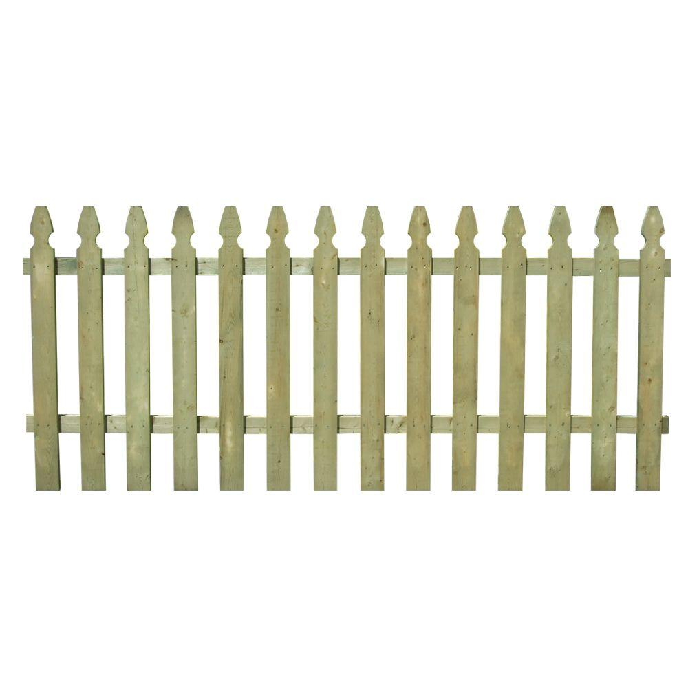 3 1 2 Ft X 8 Ft Pressure Treated Pine Spaced French Gothic Fence Panel 320037 The Home Depot Fence Panels Wood Fence Picket Fence Panels