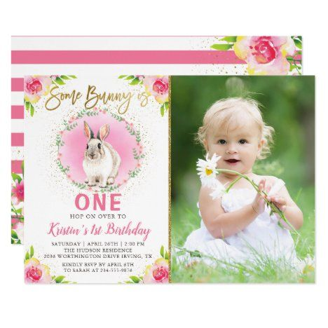 Some Bunny Pink Floral Gold Glitter Birthday Photo Invitation #UniqueGifts #BirthdayGiftsUnique #PersonalizeGifts #ShopCustomizables