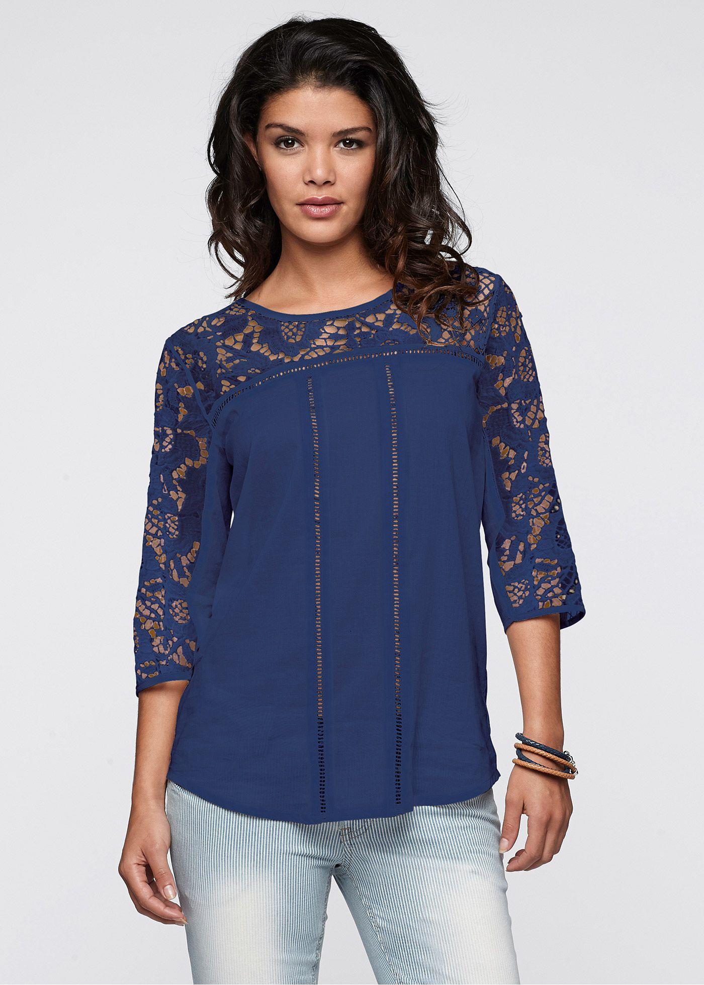 22ac30f903 Blusa com aplicação de renda azul-escuro encomendar agora na loja on-line  bonprix.de R  119