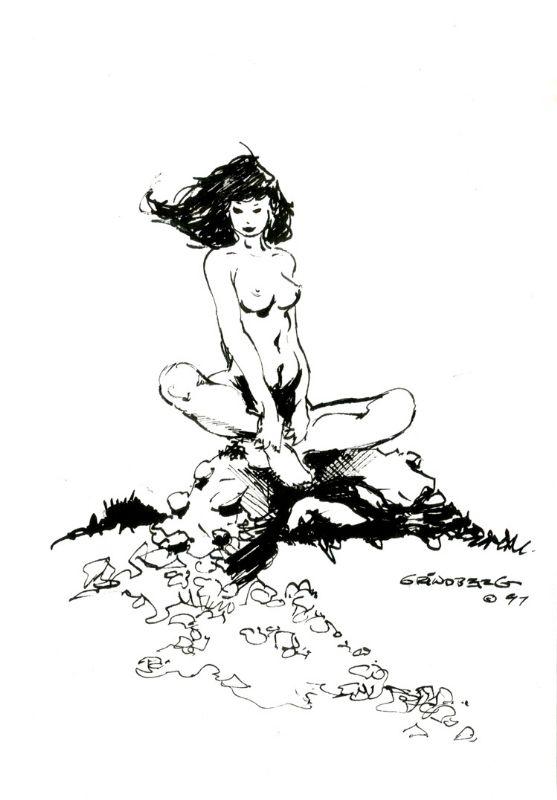 Tom Grindberg Nude Sitting Comic Art