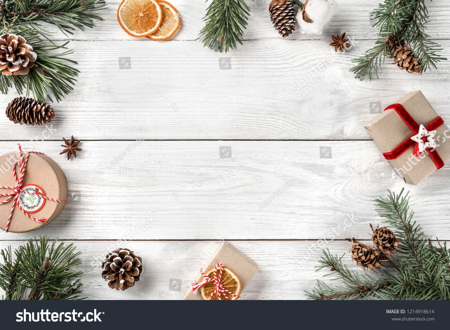 Creative Frame Made Of Christmas Tree Branches On White Wooden Background With Gift Boxes Pin How To Make Christmas Tree Christmas Tree Branches Tree Branches