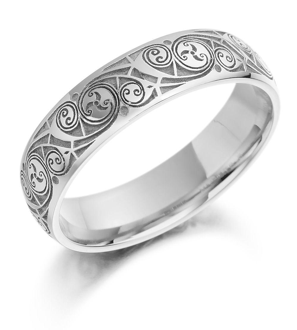 Celtic Wedding Ring Mens Gold Spiral Triskel Irish Band