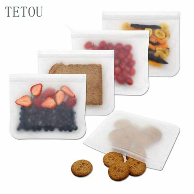 5pcs Silicone Vacuum Sealed Food Storage Bag Reusable Ziplock Containers New Tetou Ziplock Silicone Food Container Food Containers Food Storage Bags