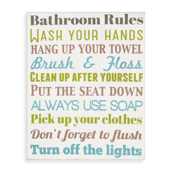 Bathroom Rules Wall Art From Bed Bath Beyond Bathroom Rules