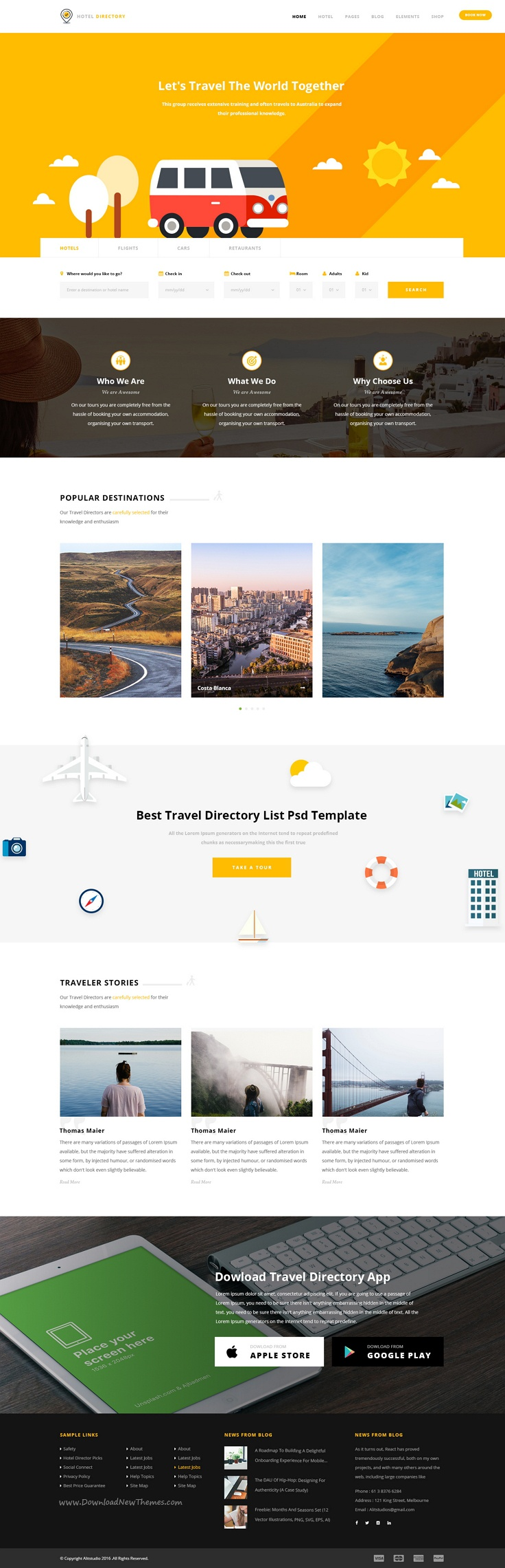 Hotel directory is a modern and perfect psd template for hotels tours