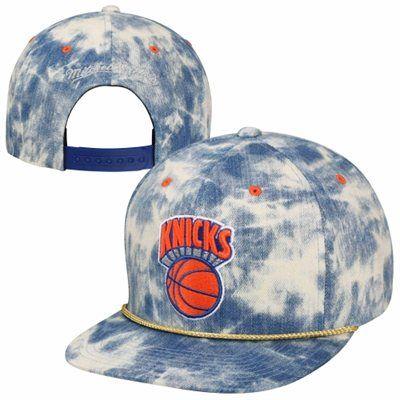 new products 173d6 e66d8 Mitchell   Ness New York Knicks Acid Wash Denim Solid Logo Snapback Hat -  Blue