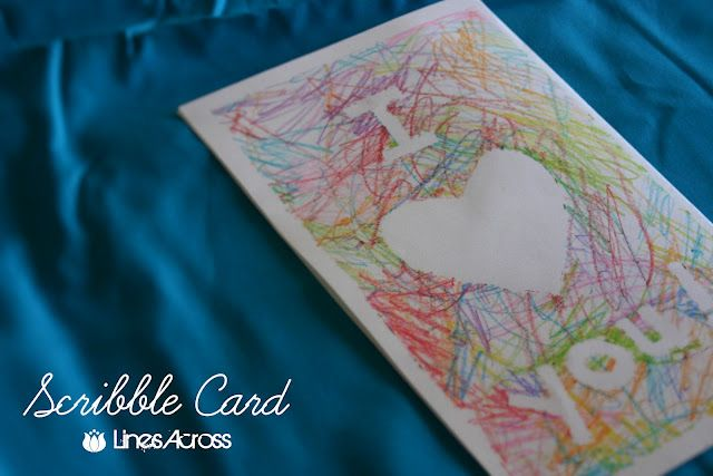 Scribble card - Use masking tape to make shapes and words and let your toddler scribble away.