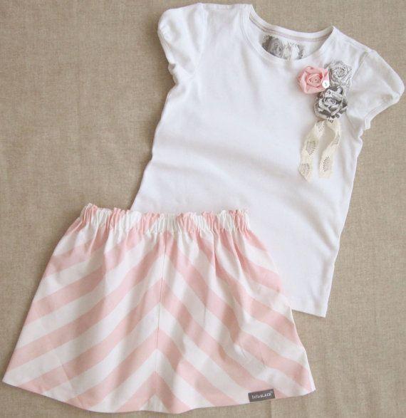 Pink Stripe Girls Skirt & Matching Rosette by BellaBlackBoutique, $29.50