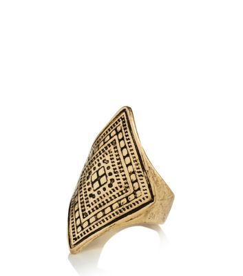 New Look Gold Engraved Diamond Tribal Ring