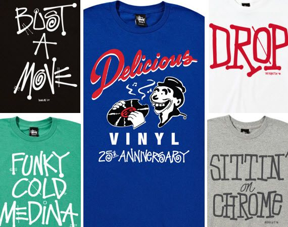Stussy X Delicious Vinyl Records 25th Anniversary Collection Mens Tops Vinyl Records Mens Tshirts