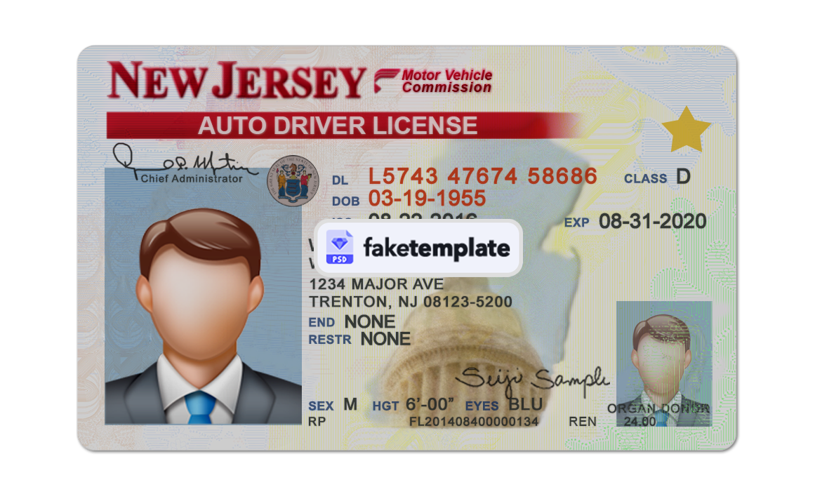 Download New Jersey Fake Driver License Id Card Template Fake Id Template Editable Psd Drivers License Id Card Template Psd Templates