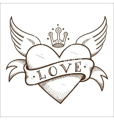 Heart With Banner And Crown Vector Image On Vectorstock Heart Drawing Heart Coloring Pages Wings Drawing